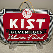 Old Reverse Painted Kist Soda Beverages Glass Sign