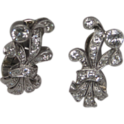 Art Deco Prince of Wales Plume Platinum 14K White Gold Diamond Earrings