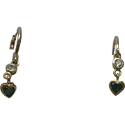 14K Yellow Gold Small Hoop White Sapphire & Heart Emerald Earrings