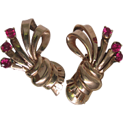 14K Rose Gold Bouquet Earrings With Rubies