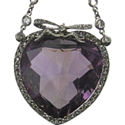 33.12 ct. Heart Shaped Amethyst Pendant with Diamonds on a Platinum Chain