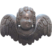 Victorian Carved Lava Cherub Pin Brooch