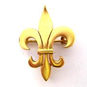 Victorian 14K Gold Fleur de Lis Pin Brooch watch holder