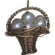 SOLD 1960's Pearl Basket Charm in 14K Yellow Gold