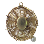 Yellow 14K Gold Pearl Hat Charm