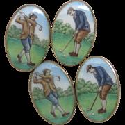 Hand Painted Enamel Golfers' Cufflinks in Sterling Vermeil