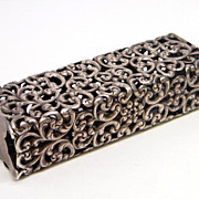 Unger Bros. Antique Sterling Silver Filigree Repousse Toothbrush Holder