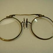 14K Gold and Sterling Art Deco Lorgnette Opera Glasses