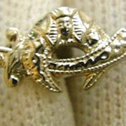 14K Gold Engraved Masonic Shriners Scimitar Pin