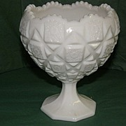 Westmoreland Milk Glass Old Quilt Footed Bowl