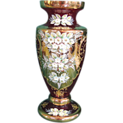Vintage Bavarian Ruby Vase with 24kt gold overlay and hand painted raised enamel