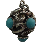 SALE Antique Sterling Entwined Snakes Ball Charm Fob Turquoise Glass Stones