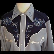 SOLD H Bar C Blue Rhinestone Western Wear Embroidered Shirt