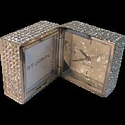 SALE Vintage Designer St. John Clothing Swarovski Crystal Travel Clock 1970 NEW