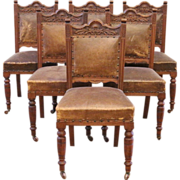 REDUCED Antique Dining Chairs, Carved Mahogany & Leather, Victorian, English. Set of 6.