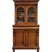 REDUCED Large Antique Bookcase, English Victorian Mahogany Library Cabinet.
