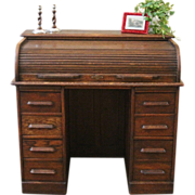 Antique English Oak Roll Top Desk