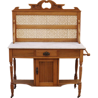 REDUCED Antique English Tile Back Marble Top Wash Stand, Satinwood.