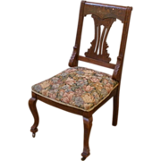 Antique Side Chair, English Victorian Mahogany Inlaid Mother of Pearl.