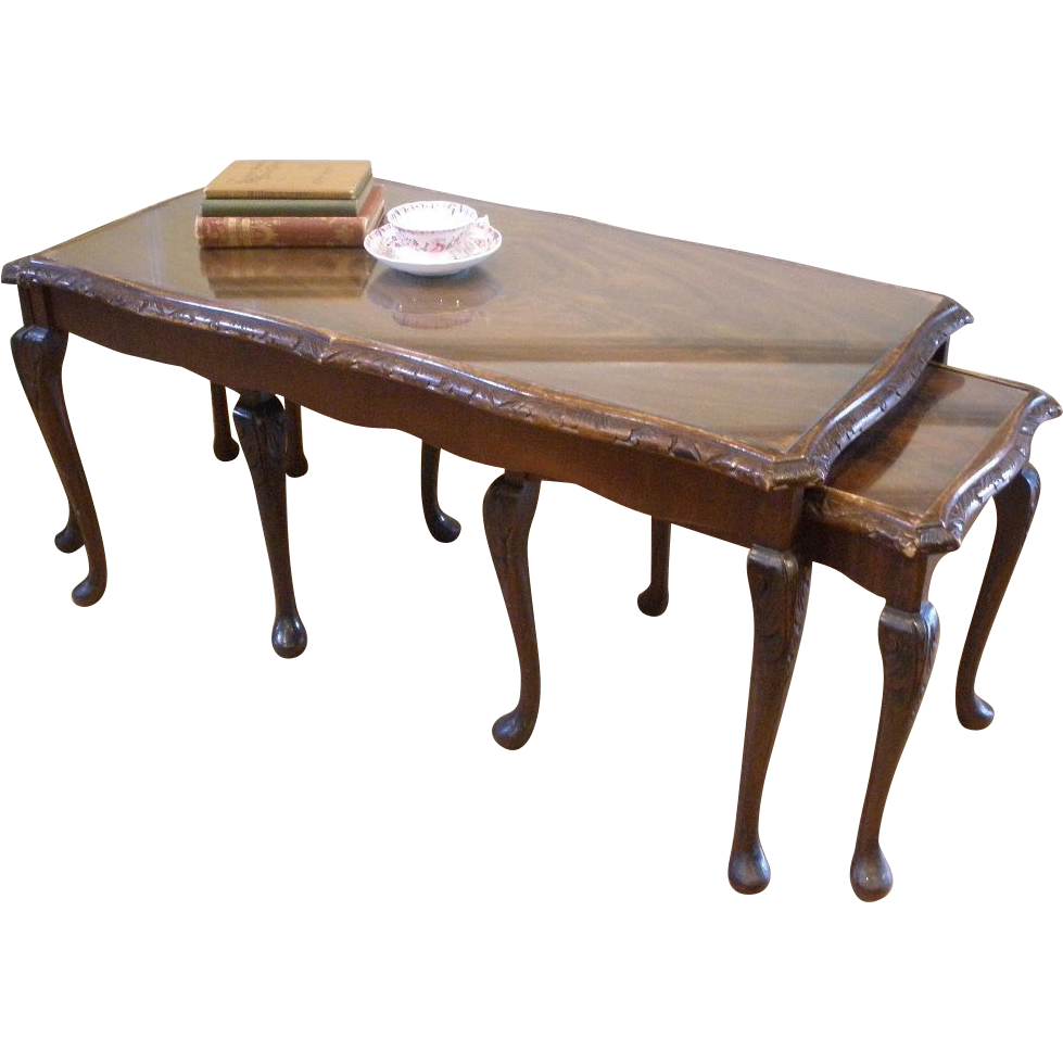 Antique Coffee Table Nesting Side Tables English Carved Burled Walnut