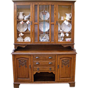 REDUCED Large Antique China Cabinet, English Carved Oak Stained Glass Dresser, Sideboard, Hutc