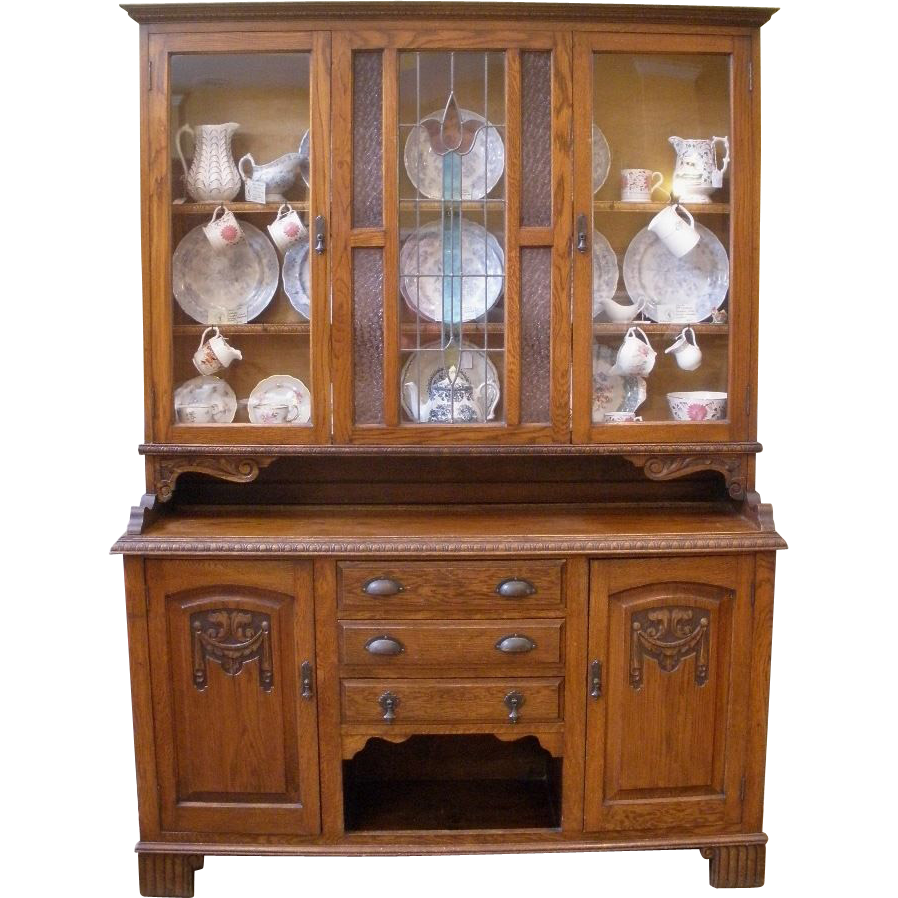 Large Antique China Cabinet, English Carved Oak Stained Glass Dresser, Sideboard, Hutch.