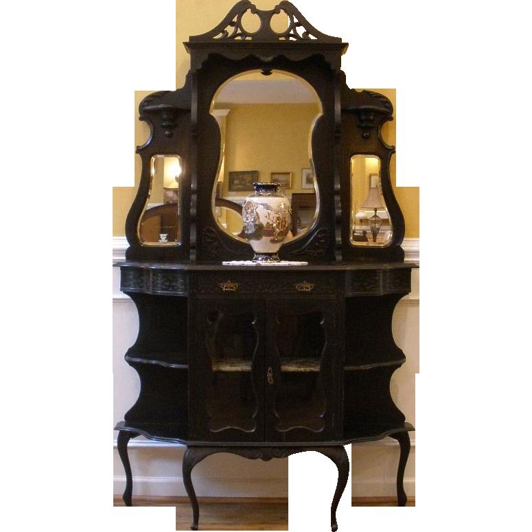 Antique Display Etagere, English Ebonized Mahogany Carved Mirror.