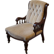 Antique Ladies Parlor Side Chair, Victorian, English Mahogany.