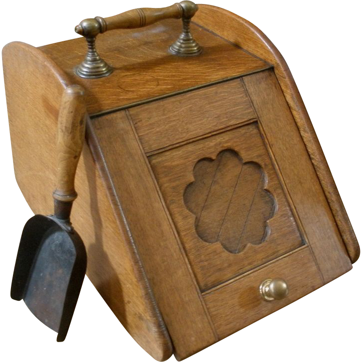 Antique Coal Scuttle and Scoop. Oak with Brass, English.