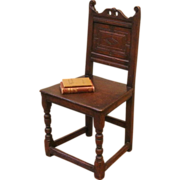 Antique Chair, 18th Century English Oak Carved Country.