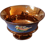Antique English Copper Luster Footed Bowl