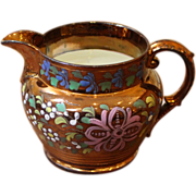 Antique English 19th C. Copper Luster Jug. Hand Painted Flowers.