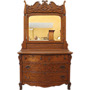 Antique Mirrored Dresser, Oak Dressing Table, American C.1900.
