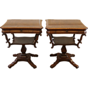REDUCED Pair Antique Mahogany End Side Tables, American Empire Style.
