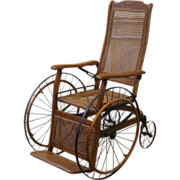 REDUCED Antique Oak and Cane Reclining Wheelchair American C.1900