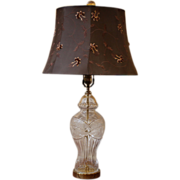 Vintage Etched Glass & Brass Table Lamp.