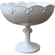 Vintage Milk Glass Compote, Indiana Glass Co., Tear Drop Garland.