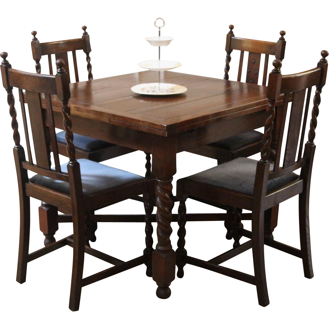 Antique english draw leaf pub dining table and chairs for Table and chairs