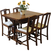 Antique Dining Set, English Pub Table and 4 Chairs, Oak.