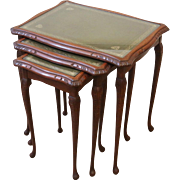 Vintage English Nesting Tables, Set of 3, Leather and Glass Top.