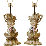REDUCED Pair of Vintage Porcelain  Lamps, Romantic Kissing Couple, Arnart Creations, Japan.