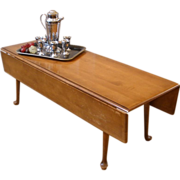 Vintage Coffee Table, American Maple Country Style Drop Leaf.