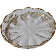 Antique Glass Dish. Hand Painted Gold Flowers.