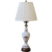Vintage Glass Table Lamp, White with Gold Flowers.