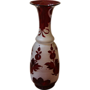 REDUCED Antique Blown Glass Vase, Bohemian, Frosted Red Over lay.