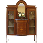 Antique English Mahogany Edwardian Inlaid China Cabinet Display Etagere.