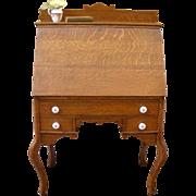 REDUCED Antique Drop Front Desk, American Oak Bureau.