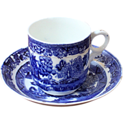 Blue Willow Antique Cup & Saucer, English, Victorian.