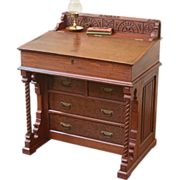 REDUCED Antique Davenport Desk, Eastlake Style, Slant Top, American C.1880