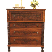 REDUCED Antique Empire Style Butlers Chest of Drawer, Desk, Carved Lion Paw.